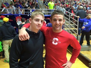 MV 182 Joey Yanis with former NYS champ and current  Cornell 157 Dylan Palacio